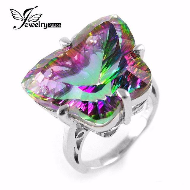 20ct BUTTERFLY Natural Mystic Fire Rainbow Topaz Cocktail Ring Solid Genuine 925 Sterling Silver Unique Fashion Jewelry Women