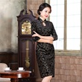 Fashion Black Gold Velour Long Dress Cheongsam Qipao Sexy Robe Chinese Traditional Dress Clothing Half Sleeve Dresses