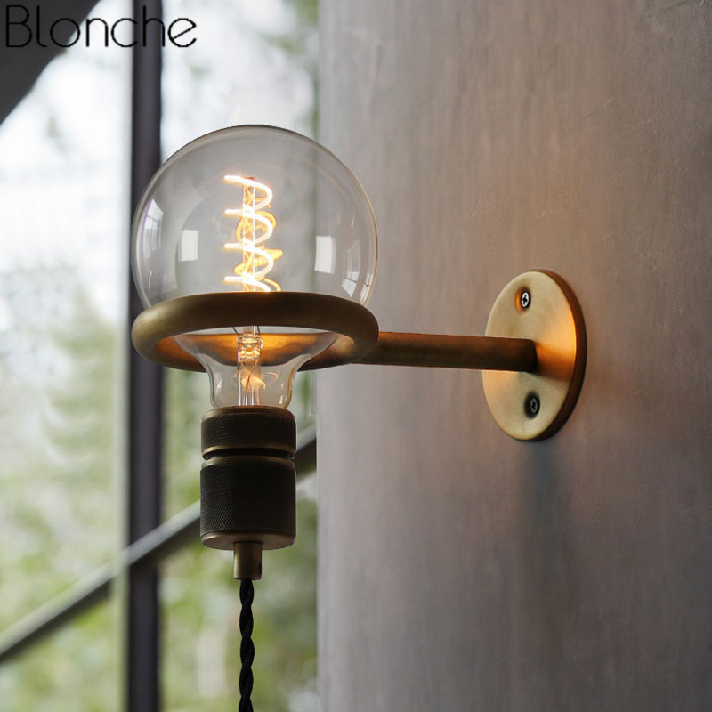 Vintage Punk Ring Wall Lamp Led Mirror Light American Country Retro Loft Industrial Sconce Bedroom Bathroom Home Decor Fixtures
