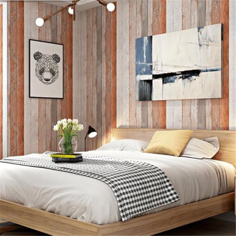beibehang Retro Vintage Scandinavian Style Faux Wood Grain Board Antique Wallpaper Industrial Style Bar Restaurant wallpaper vintage wood grain color block flannel rug