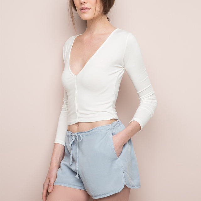 Women Casual Solid Color Formal All-match Breathable Shorts A Drawstring And Elastic Waistband Short
