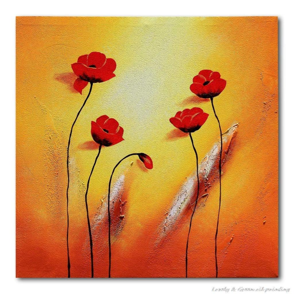 Hand Painted Red Flower Oil Painting On Canvas Wall Art Group Of ...