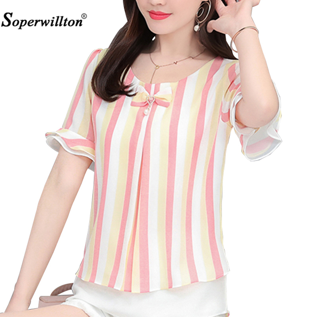 Fashion Blouse Shirt Women Summer Blouses Ladies Tops Chiffon Petal Sleeve Casual Loose Plus size 4XL O-Neck Bow Shirts Blusas