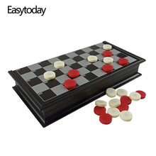 Easytoday Checkers Magnetic Folding Checkerboard High-quality Plastic Games Set 25cm*25cm Chess board Friend Gift