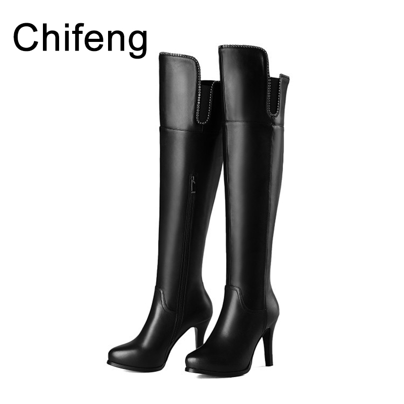women boots woman shoes winter women's knee high heel boot 2017 womens booties over the knee black and red shoe cicime summer fashion solid rivets lace up knee high boot high heel women boots black casual woman boot high heel women boots