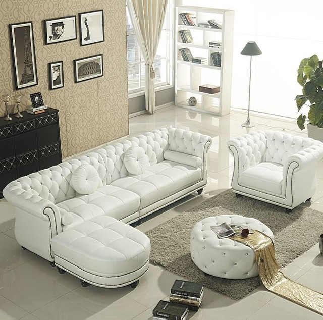 European style leather sofa small apartment modern living room ...