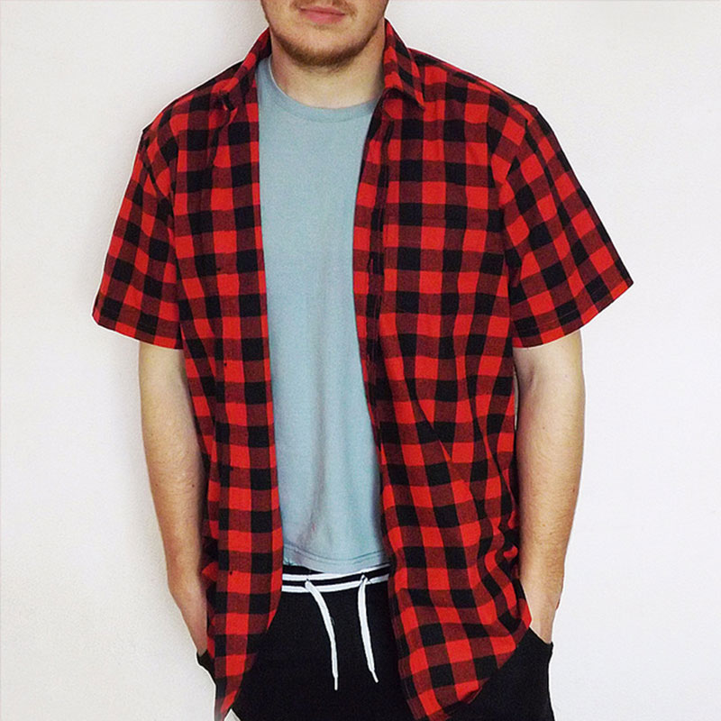 Jeetoo brand shirt men short sleeve red and black plaid for Red and white plaid shirt mens