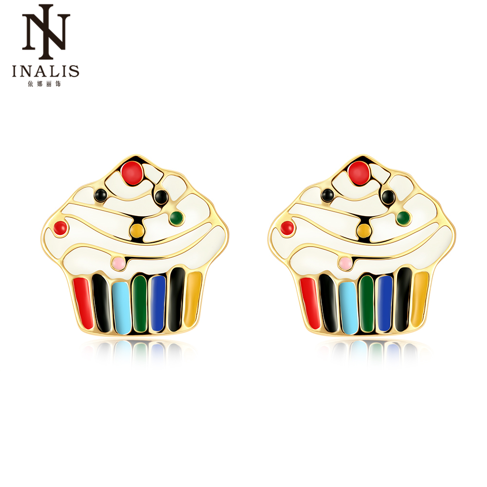 INALIS Elegant Gold Colorful Enamel Drop oil Ice Cream Stud Earrings for Women Girl Female Child Jewelry Gift