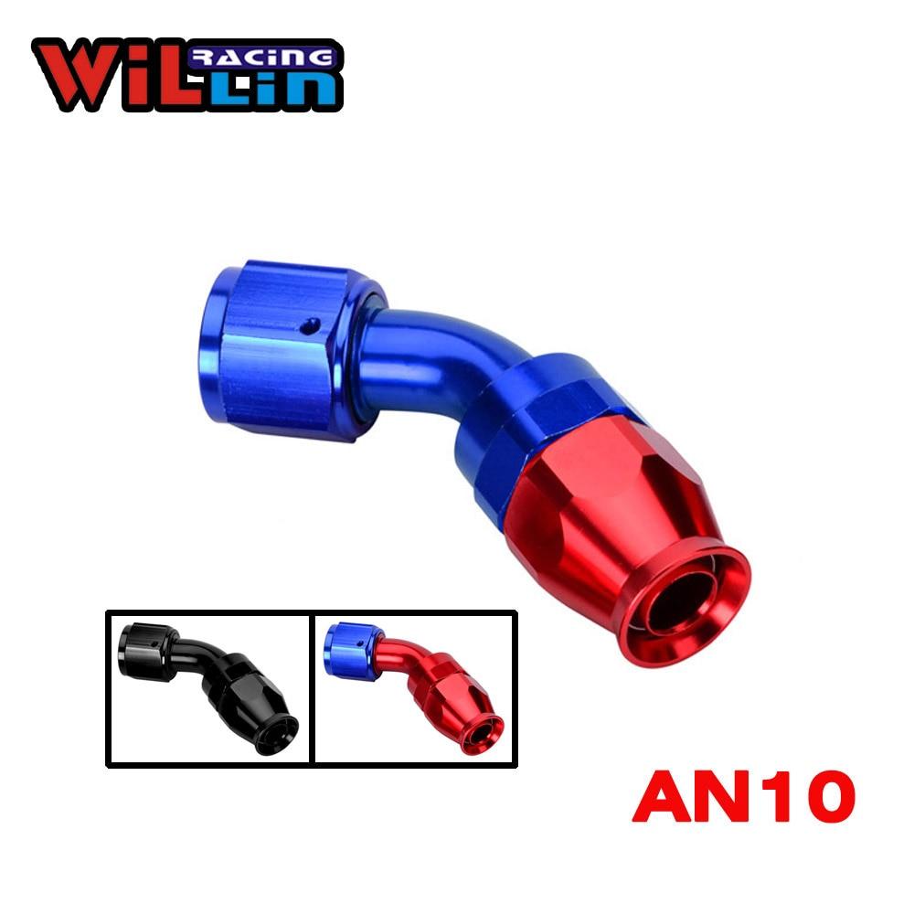 10AN AN-10 AN10 45 Degree Racing Aluminum Hose End Fitting Push On Lock Oil Adapter