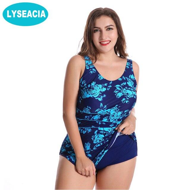 b2afb6bb0f0 LYSEACIA Plus Size Monokini Swimdress Women One Piece Beachwear Backless Bathing  Suit Women s Swimsuit Large Size