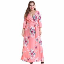 dress women vestido fashion casual v neck autumn vestidos maxi european style ong lace-up floral print