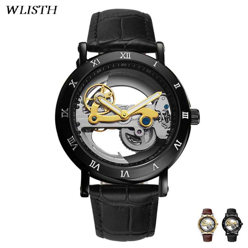 WLISTH Mechanical Men Watch Automatic Watches Hollow Dial Wristwatch Skeleton Pattern Luminous Pointer Clock Fashion Jeweley купить недорого в Москве