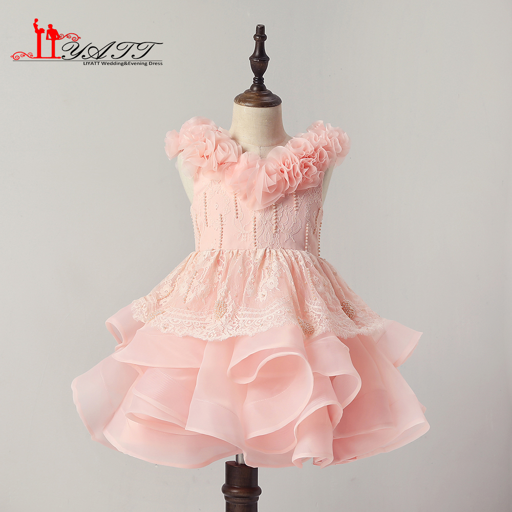 Liyatt 2018 New Collection Pink Handmade Flower Sheer Lace Ball Gown