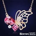 Corea de la mariposa collar gargantilla para mujeres con Swarovski Elements partido cristalino austríaco moda Colar joyería de la alta calidad