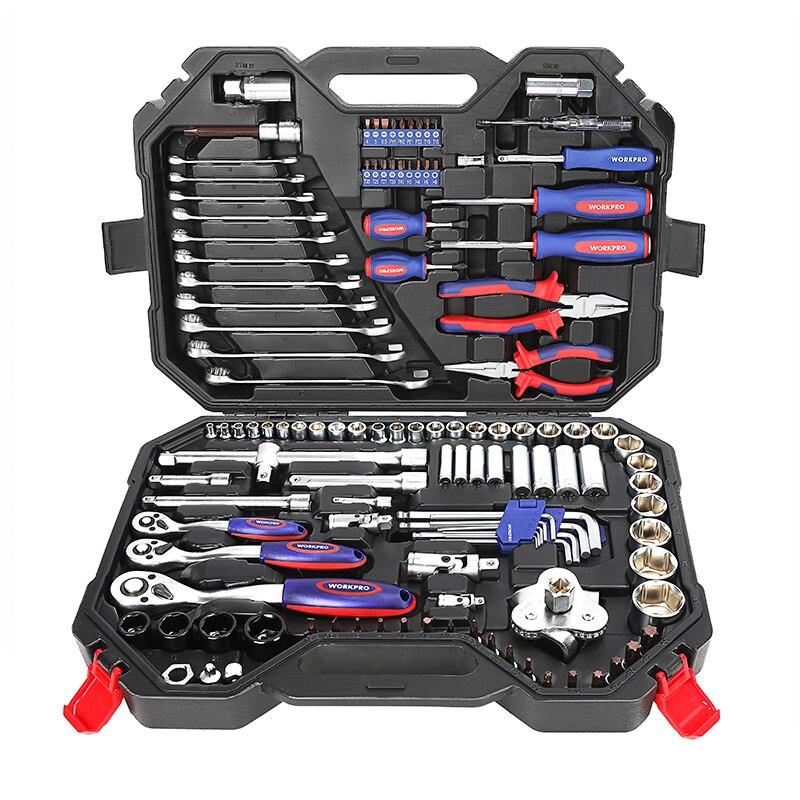 Image 2 - WORKPRO 123PC Mixed Tool Set Mechanics Tool Set Ratchet Spanner Wrench Socket Set 2019 New DesignHand Tool Sets   -