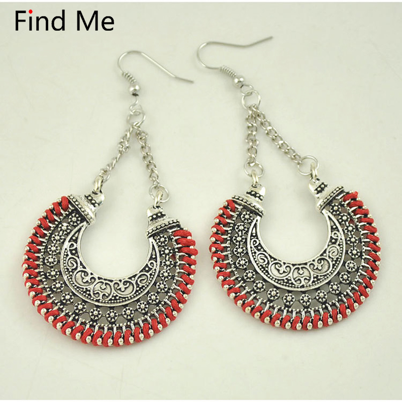 Find Me 2018 brand fashion Carved Rope Wrap Drop Earrings Vintage color Power boho punk big circle Earrings for Women jewelry