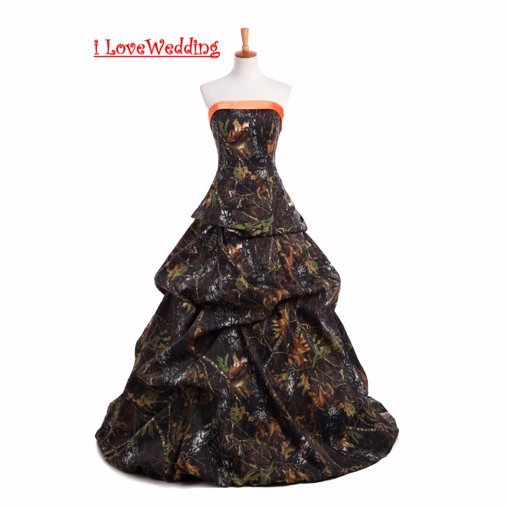 50fe0e796f093 iLoveWedding New Arrive A-Line Camo Wedding Dresses Sleeveless Lace up Back  Camouflage Tiered Bridal Gowns Plus Size Custom Made