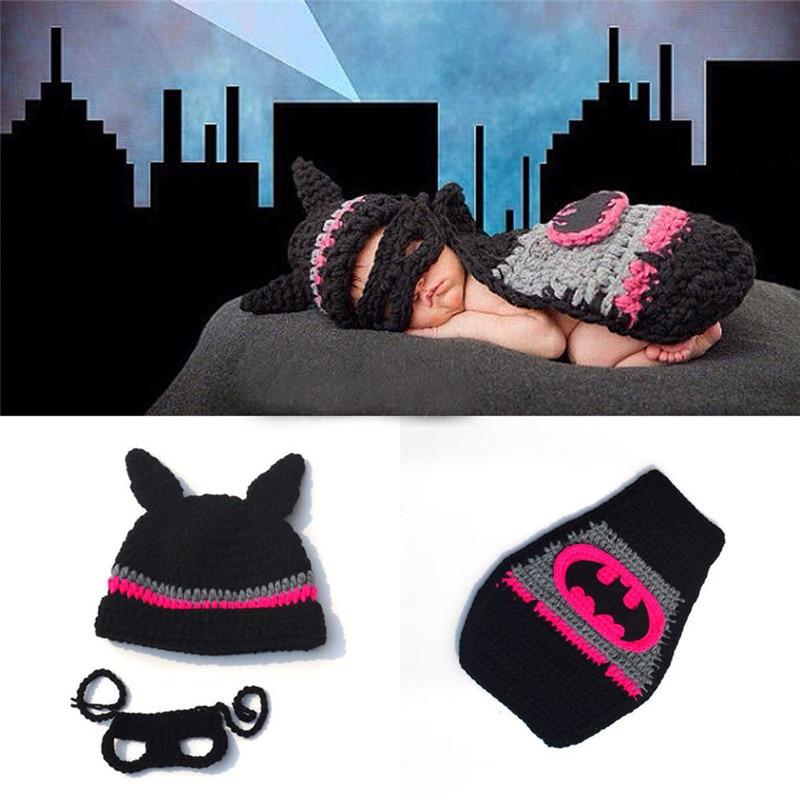 New Batman Photography Props Superman Spiderman Newborn Baby Costume Outfit Handmade Crochet Beanie Cap photo prop Christmas