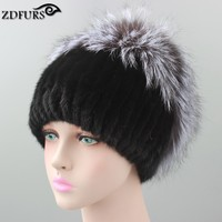 Winter Knitted Mink Fur Hat For Women With Fox Fur Pom Poms Top Knitted Beanies Fur