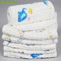 1 PÇS/LOTE Algodão Orgânico Fraldas Reutilizáveis bebê Fralda de Pano Fralda liners Insere 6 Camadas 100% Algodão Lavável Bebê CareNew