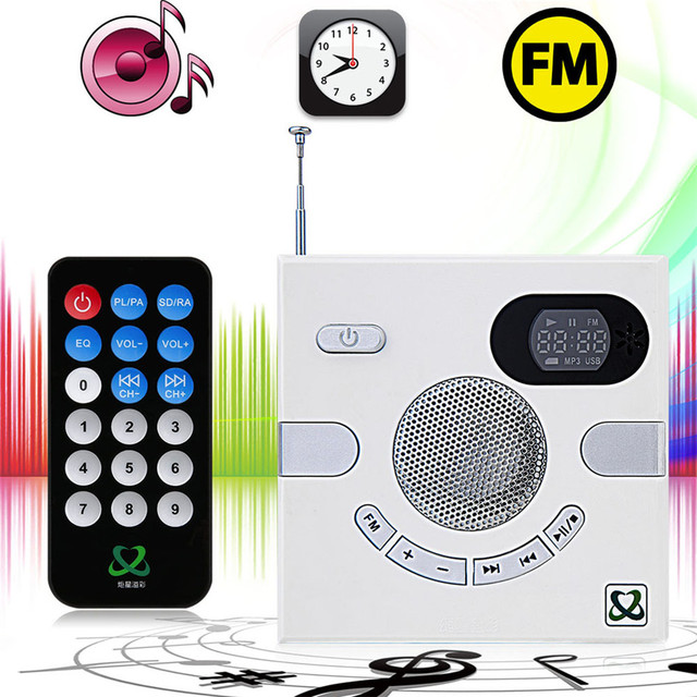 Hot Sale Portable Wall Speaker Switch Design AUX 3.5mm Multi-functional Stereo With FM TF Card U Disk Time Display Headphone