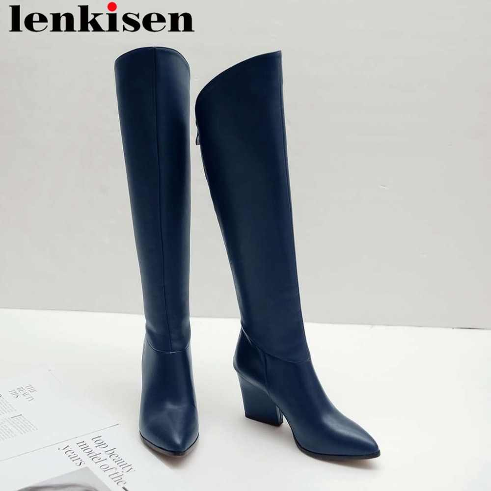 2019 newest deign solid natural leather oxford pointed toe thock high heels zip european superstars riding knee-high boots L5f1