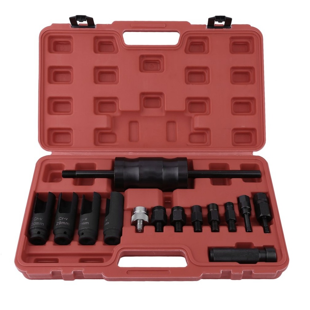 Newest 14pcs Practical Pull In Fuel Common Rail Injector Puller Extractor Set Slide Hammer Removal Tool Kit With Carry Case