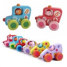 Купить с кэшбэком Baby Toys Mini Cartoon Wooden Vodice Car Model Inertia Car Toy Children Baby Education Toys Birthday Gift For Newborn
