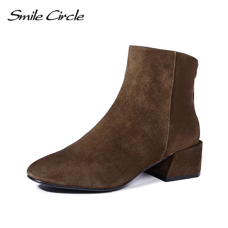 Smile Circle Genuine Leather high heels Ankle Boots women High-quality Round toe Sheep Suede fashion Short Boots 2018 autumn smile circle suede cow leather chelsea boots women ankle boot fashion rivets round toe lady shoes women high heel boots