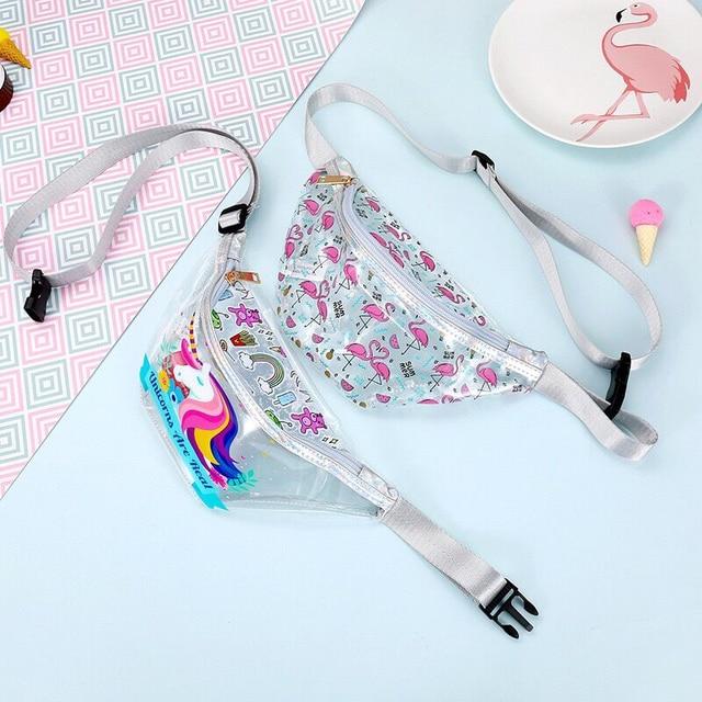 Flamingo Transparent Waterproof Waist Pack Women Fashion Crossbody Chest Pack Summer Beach Bag Phone Bags Girl Cute Shoulder Bag
