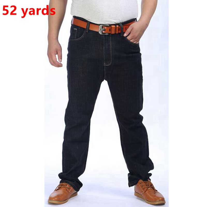 ФОТО larger size Winter male black jeans big code XL large fertilizer  feet thick, fat  oversize heavyweight loose dark jeans