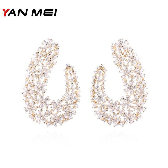 YANMEI Luxury CZ Flower Shape Stud Earrings For Women Crystal Hollow  Geometric Earring Fashion Jewelry YME8026