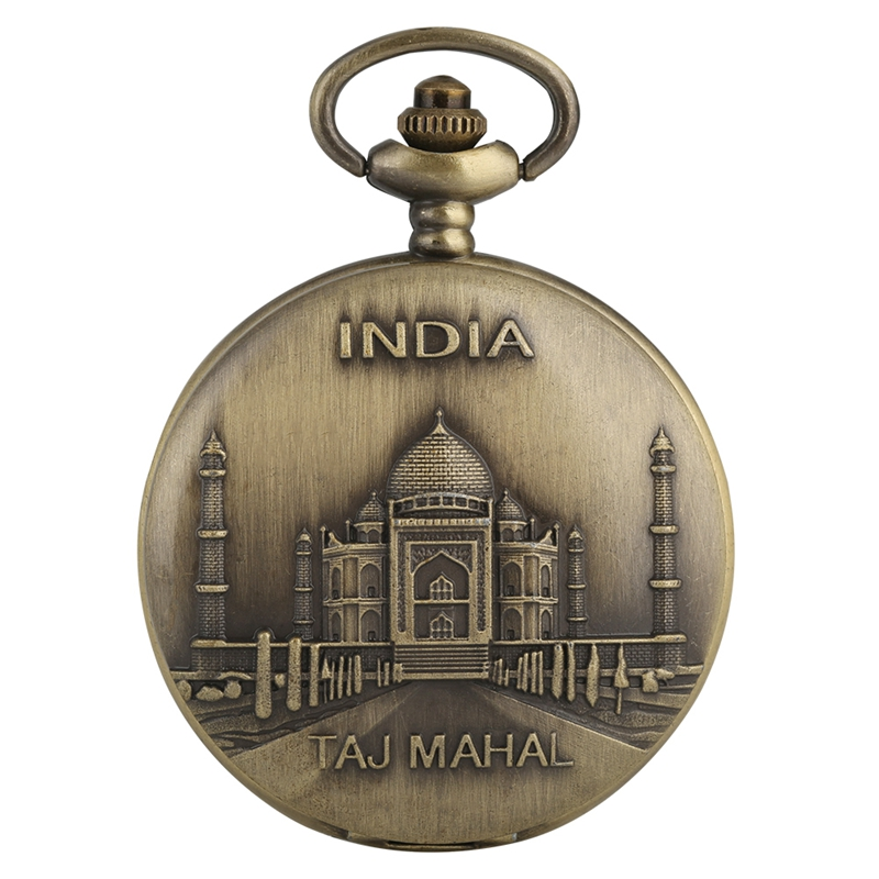 World Famous India Taj Mahal Pattern Quartz Pocket Watch Precise Standard Dial Bronze Castle Alloy Necklace Pendant Fob Watches