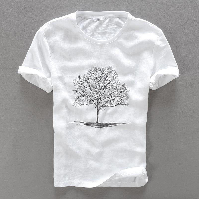 2017 Summer new white   t     shirt   men linen embroidery round neck   t  -  shirt   male casual fashion men   t     shirts   brand flax tshirt mens
