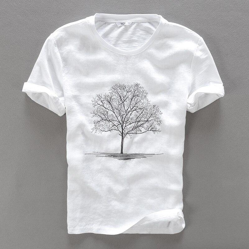 2017 Summer New White T Shirt Men Linen Embroidery Round Neck T-shirt Male Casual Fashion Men T Shirts Brand Flax Tshirt Mens