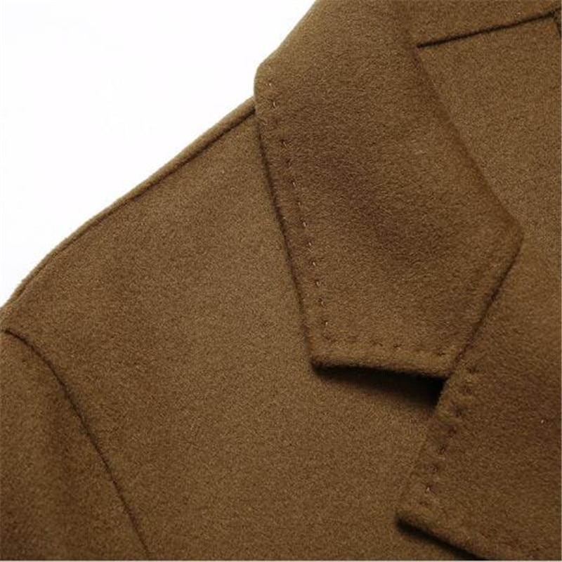 Qualité Double Coupe Black camel vent Poche Casual Entreprise 100 Coffee deep Boutonnage Color Laine Manteau De Mode Mérinos Importé Hommes Inw7qU8Z