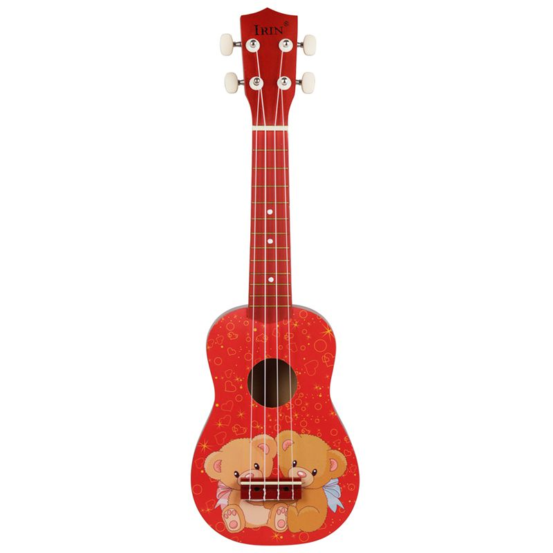 IRIN 21 Inch 15 Frets Soprano Ukulele Uke 4 Nylon Strings Guitar Pattern Universal Acoustic Instrument Red