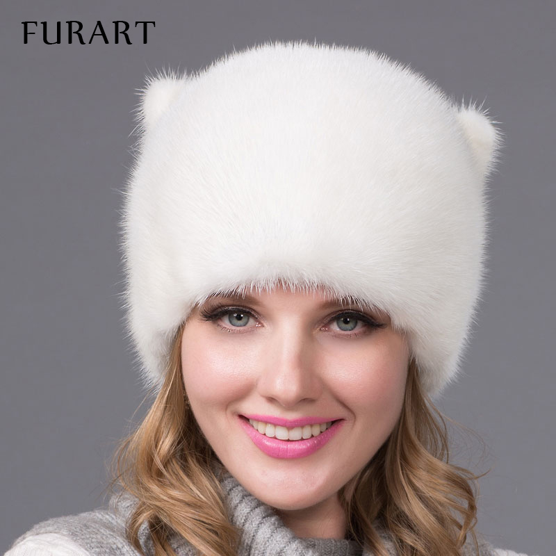 Winter fur hat for women real mink fur cap with flowers style Russia fashion good quality ladies luxury headgear Mink tail DHY54