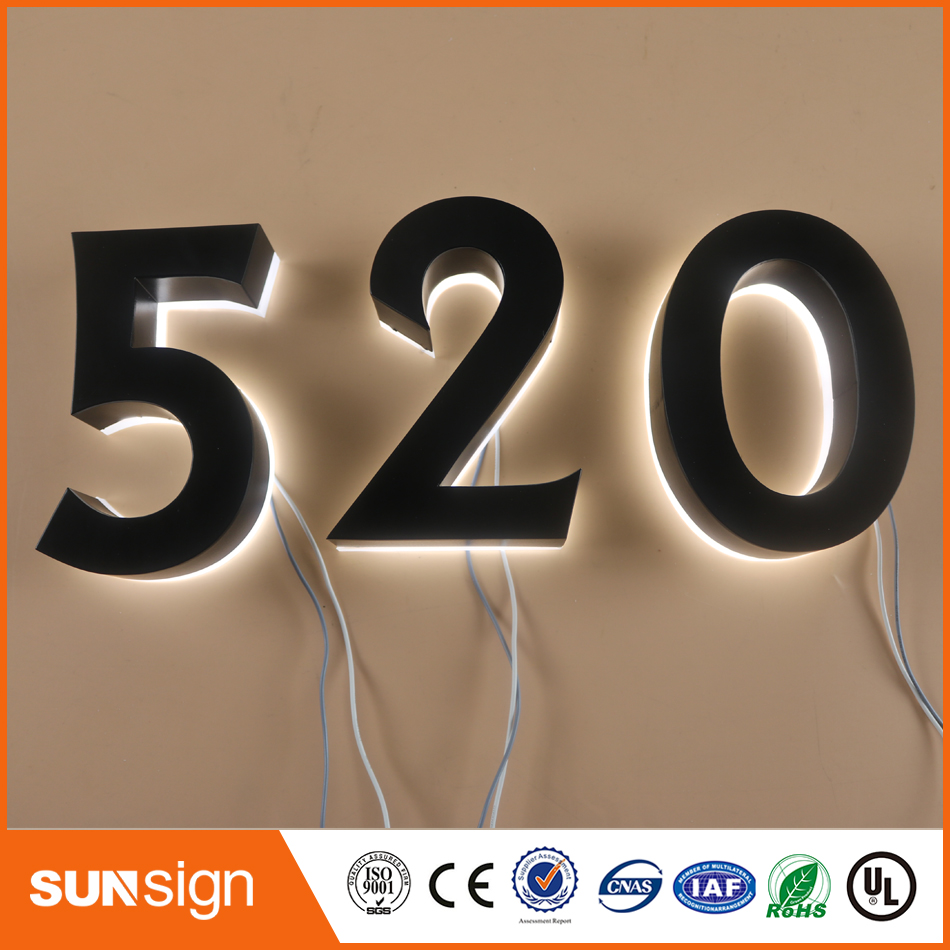 H25cm One Letter Custom Black Stainless Steel Faces White Led Backlit Numbers