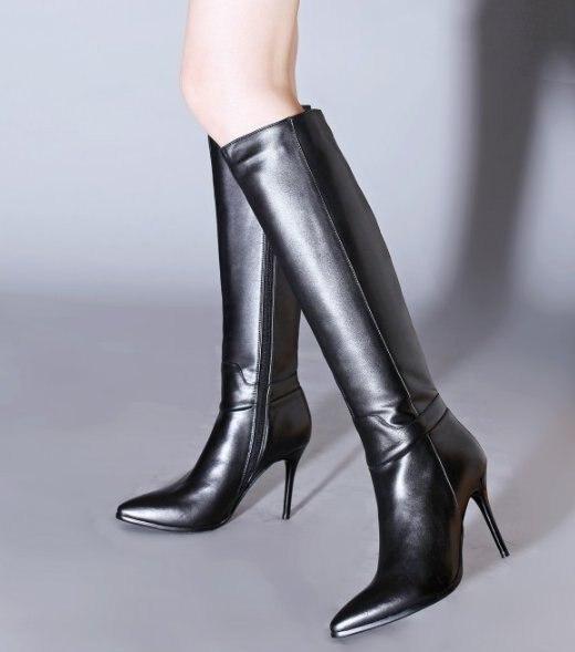 En Cuir Marque Au Dames Talons 34 Noir Femmes Botas Chaussures Haut Hiver Véritable Taille 39 Du Long R7355 dessus Réel Talon Boot Genou Bottes y8n0NPvwmO