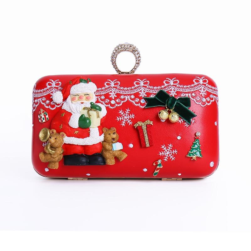 Christmas Gifts Creative Women's Shoulder Bag 3D Santa Claus Diagonal Package Dinner Party Handbags Original Custom wall decor sending gifts santa claus patterned tapestry