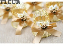 10 pcs European style bird nest shape iron wedding candy box cage marriage birthday