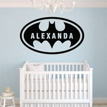 Art  Wall Sticker Batman Catoon Decor Vinyl Personalized Name Design Decoration Removeable Ornament Beauty Mural LY199