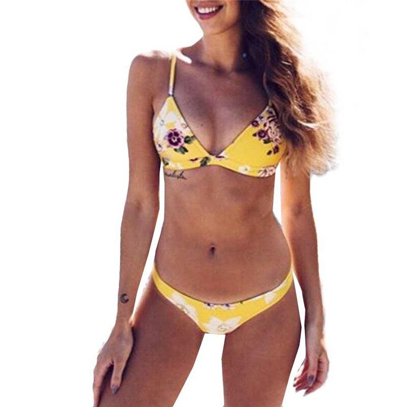 Flor amarilla acolchado mujeres sexy bikini set bañadores vendaje push-up acolchado BRA traje de baño beachwear para Lady Girl natación fuente