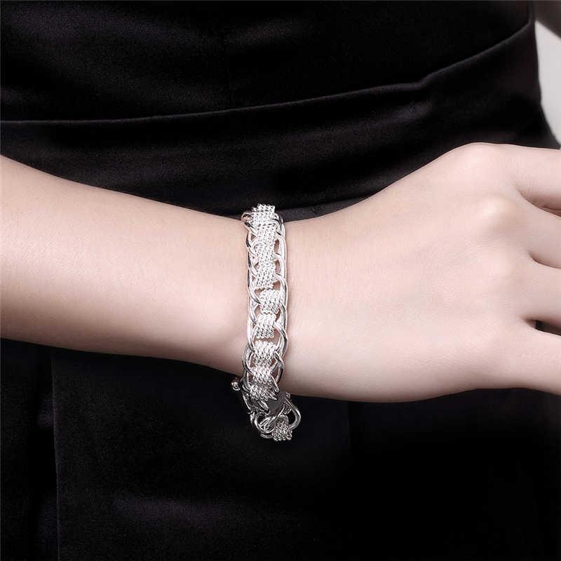 عالية الجودة السيدات سوار 925 الفضة اللون العديد من دائرة سحر أساور مجوهرات للنساء الرجال بالجملة