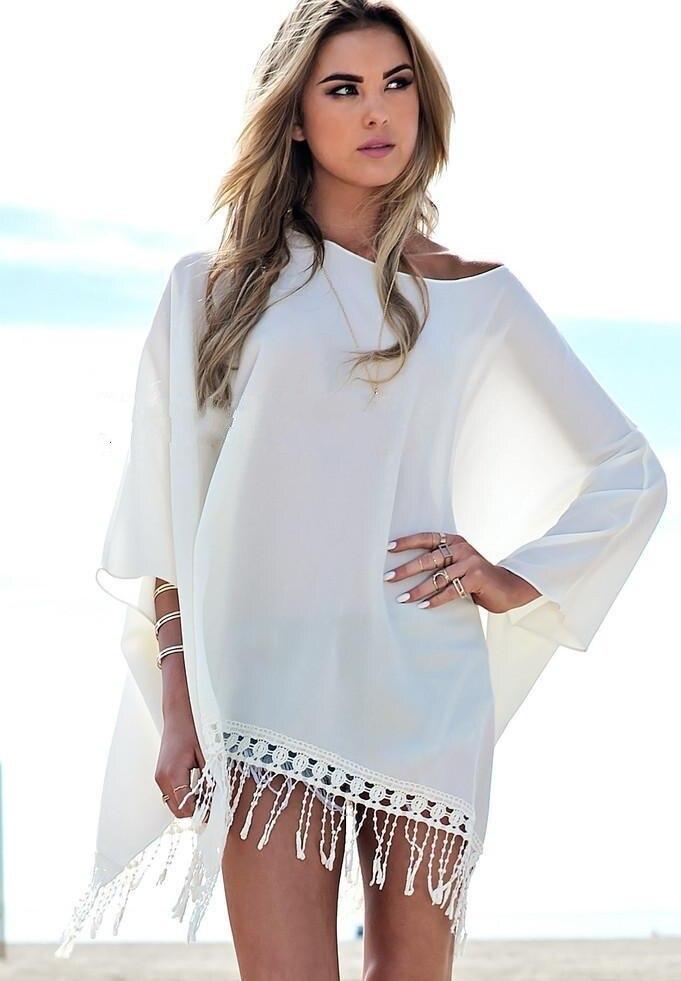 Summer style beach wear chiffon shirt poncho tassel long for Beach shirt cover up