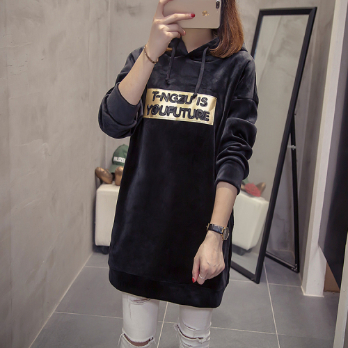 456dc510b7 Velour Loose Thick Plus Size Harajuku Hoodies Women Long Sleeves Oversized  Sweatshirt And Pullovers Bts Hoodie Kpop Clothes
