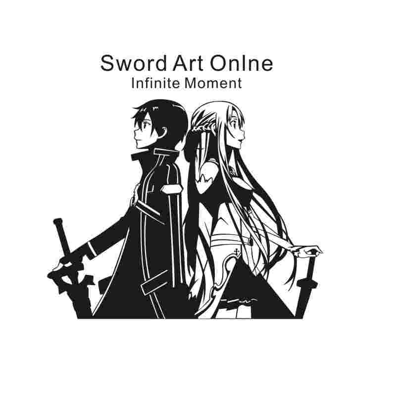 Pegatina Sword Art Online Sticker Anime Cartoon Kirito Car Decal Sticker Vinyl Wall Stickers  Decor Home Decoration Стикер