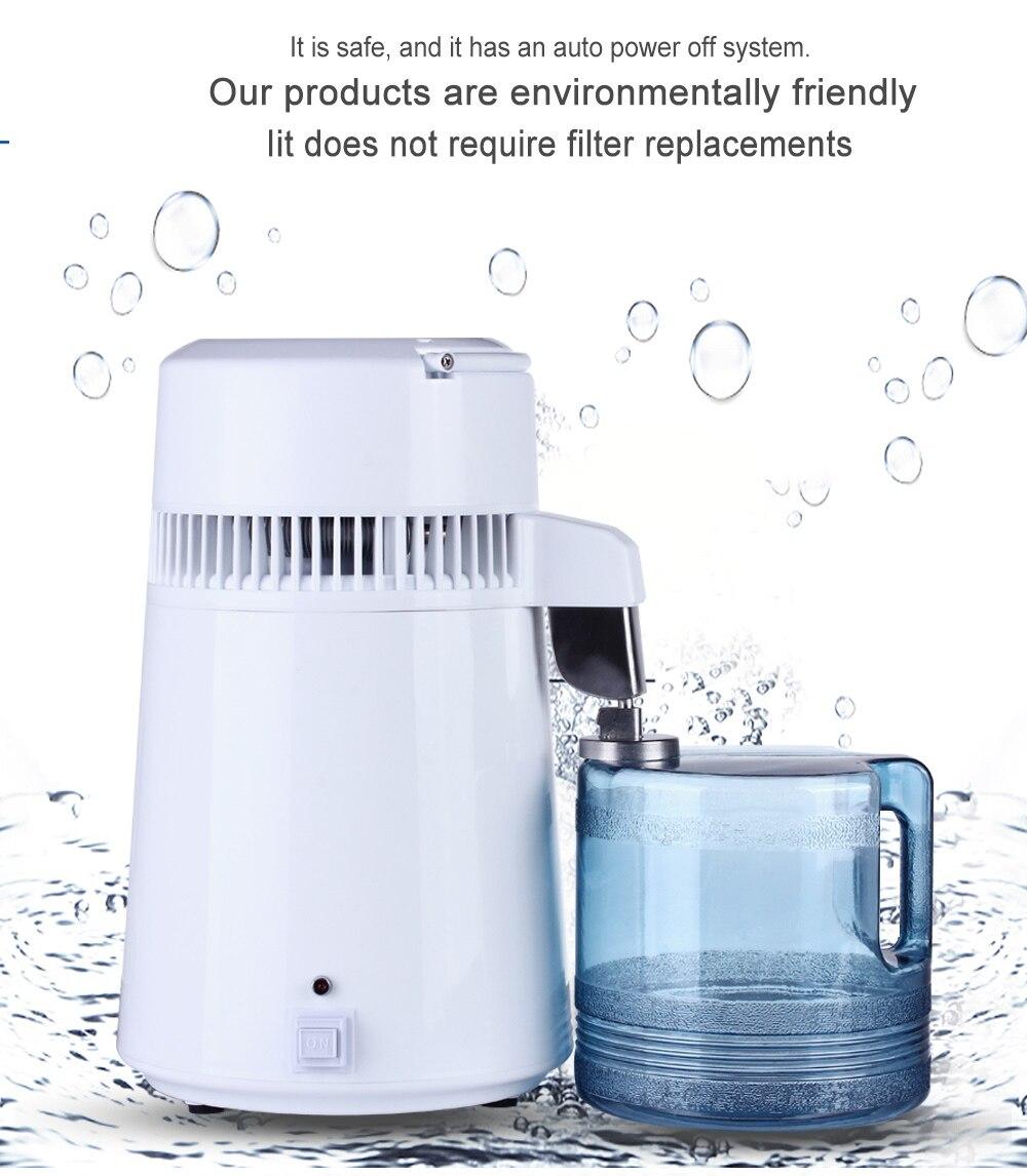 L'utilisation du logement Pur Distillateur D'eau 4L D'eau Distillée Machine Distillation Purificateur Filtre À Eau En Acier Inoxydable Russe Manuel