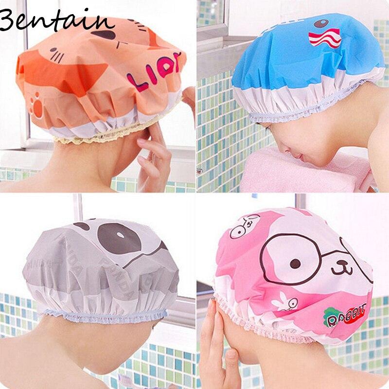 Spa Elastic Salon Random Hat Home Women Waterproof Shower Cap Cartoon Bathing